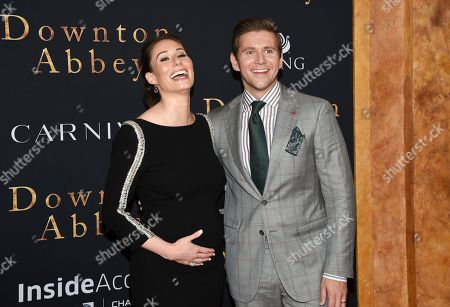 """Stock Picture of Jessica Blair Herman, Allen Leech. Actor Allen Leech, right, and wife Jessica Blair Herman attend the premiere of """"Downton Abbey"""" at Alice Tully Hall, in New York"""