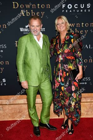 """Stock Image of Hugh Bonneville, Lulu Williams. Actor Hugh Bonneville and wife Lulu Williams attend the premiere of """"Downton Abbey"""" at Alice Tully Hall, in New York"""