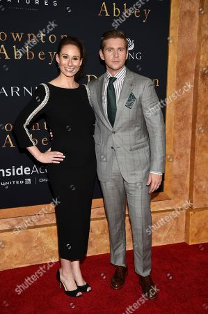 "Jessica Blair Herman, Allen Leech. Actor Allen Leech, right, and wife Jessica Blair Herman attend the premiere of ""Downton Abbey"" at Alice Tully Hall, in New York"