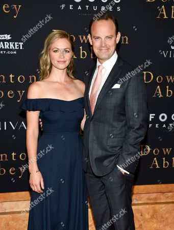 "Rebecca Night, Harry Hadden-Paton. Actor Harry Hadden-Paton, right, and wife Rebecca Night attend the premiere of ""Downton Abbey"" at Alice Tully Hall, in New York"
