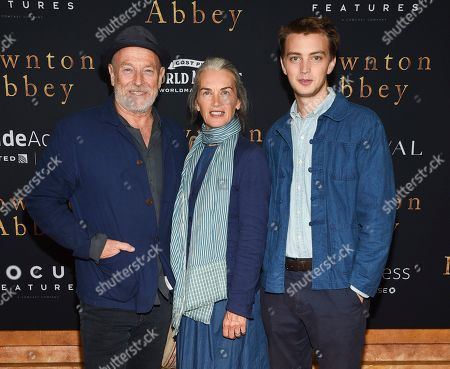 """Stock Picture of Corbin Bernsen, Amanda Pays, Finley Bernsen. Actors Corbin Bernsen, left, and Amanda Pays pose with their son Finley Bernsen at the premiere of """"Downton Abbey"""" at Alice Tully Hall, in New York"""