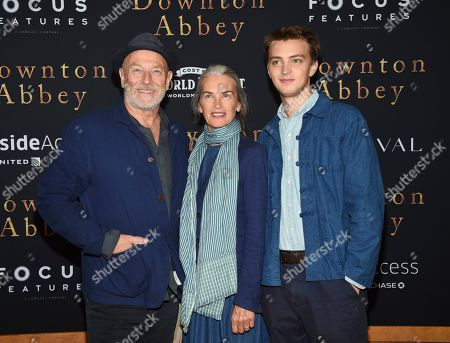 "Stock Image of Corbin Bernsen, Amanda Pays, Finley Bernsen. Actors Corbin Bernsen, left, and Amanda Pays pose with their son Finley Bernsen at the premiere of ""Downton Abbey"" at Alice Tully Hall, in New York"