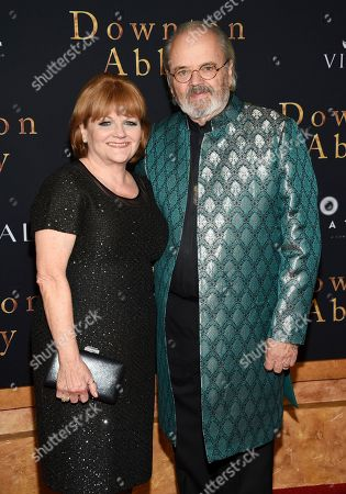 """Stock Picture of Lesley Nicol, David Keith Heald. Actress Lesley Nicol, left, and husband David Keith Heald attend the premiere of """"Downton Abbey"""" at Alice Tully Hall, in New York"""