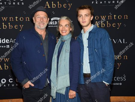 "Stock Picture of Corbin Bernsen, Amanda Pays, Finley Bernsen. Actors Corbin Bernsen, left, and Amanda Pays pose with their son Finley Bernsen at the premiere of ""Downton Abbey"" at Alice Tully Hall, in New York"