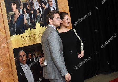 """Jessica Blair Herman, Allen Leech. Actor Allen Leech, left, and wife Jessica Blair Herman attend the premiere of """"Downton Abbey"""" at Alice Tully Hall, in New York"""