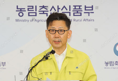 Stock Image of Agriculture, Food and Rural Affairs Minister Kim Hyun-soo speaks during a press conference at the government complex in the city of Sejong, central South Korea, 17 September 2019, to announce that South Korea confirmed its first case of African swine fever at a farm in Paju, just south of the inter-Korean border.