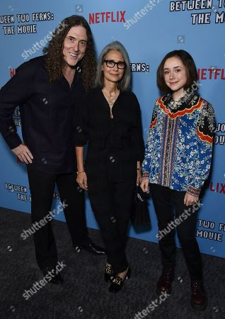 """Al Yankovic, Suzanne Yankovic, Nina Yankovic. Al Yankovic, from left, Suzanne Yankovic and Nina Yankovic arrive at the Los Angeles premiere of """"Between Two Ferns: The Movie"""" at ArcLight Hollywood on"""
