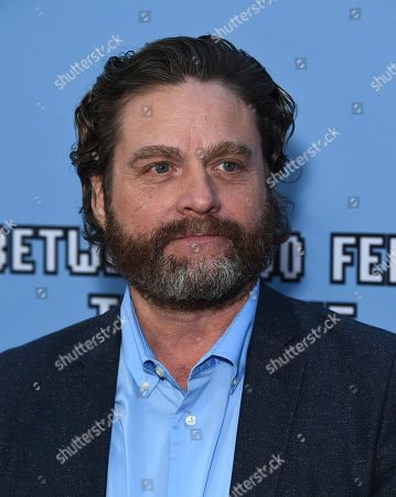 """Stock Image of Zach Galifianakis arrives at the Los Angeles premiere of """"Between Two Ferns: The Movie"""" at ArcLight Hollywood on"""