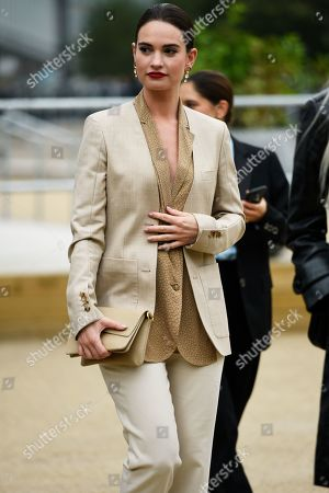 Lily James leaving the Burberry show, day 4