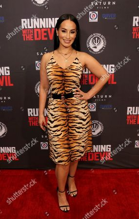 """Victoria La Mala attends the LA Premiere of """"Running with the Devil"""" at the Writers Guild Theater, in Beverly Hills, Calif"""
