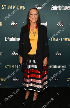 "Tantoo Cardinal, a cast member in the ABC television series ""Stumptown,"" poses at the premiere of the show at the Petersen Automotive Museum, in Los Angeles"
