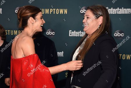 """Cobie Smulders, Camryn Manheim. Cobie Smulders, left, and Camryn Manheim, cast members in the new ABC television series """"Stumptown,"""" greet each other at the premiere of the show at the Petersen Automotive Museum, in Los Angeles"""