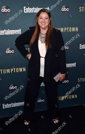 """Camryn Manheim, a cast member in the ABC television series """"Stumptown,"""" poses at the premiere of the show at the Petersen Automotive Museum, in Los Angeles"""