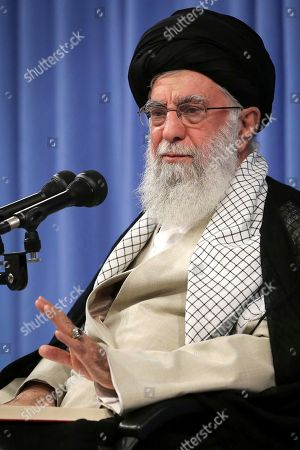 """In this photo released by an official website of the office of the Iranian supreme leader, Supreme Leader Ayatollah Ali Khamenei speaks in a meeting in Tehran, Iran, . Khamenei says """"there will be no talks with the U.S. at any level"""" ? remarks apparently meant to end all speculation about a U.S.-Iran meeting at the U.N. later this month"""
