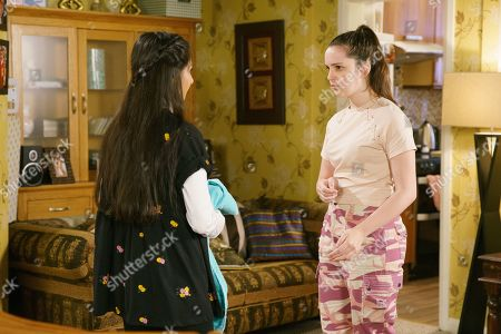 Ep 9884 Wednesday 25th September 2019 - 2nd Ep Amy Barlow, as played by Elle Mulvaney, calls at No.7 to practise for the auditions and is puzzled by Asha Alahan's, as played by Tanisha Gorey, baggy clothes. As Asha sings her audition song, Amy's horrified to see blood seeping through the sleeve of her top.