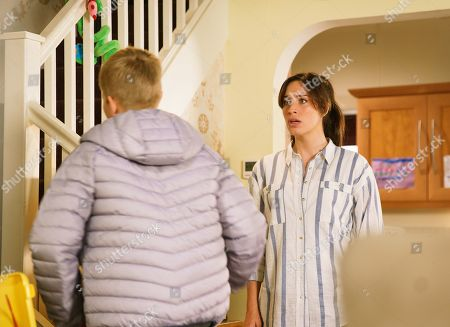 Ep 9880 Friday 20th September 2019 - 2nd Ep Max, as played by Harry McDermott, arrives home and Shona Ramsey, as played by Julie Goulding, reveals she knows he bunked off but Max flatly denies it and stomps upstairs.
