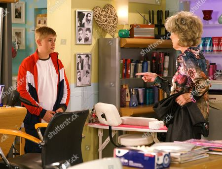 Stock Picture of Ep 9881 Monday 23rd September 2019 - 1st Ep Audrey Roberts, as played by Sue Nicholls, looks after Max Turner, as played by Harry McDermott, in the salon for the day. He overhears her telling Bethany she wouldn't blame Shona for packing her bags and leaving. Cathy Matthew is annoyed when Audrey messes up the dye on her hair. Audrey realises Max tampered with the mixture and marches him back to Shona.