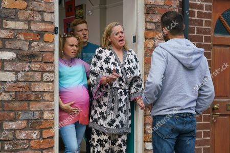 Ep 9875 Monday 16th September 2019 - 1st Ep An angry man calls at No.5, claiming to have fallen victim to a hoax pregnancy and vowing to go to the police. Chesney Brown, as played by Sam Aston, orders Bernie Winter, as played by Jane Hazlegrove, to pack her bags with Gemma Winter's, as played by Dolly-Rose Campbell, support.