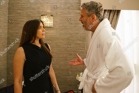 Ep 9870 Monday 9th September 2019 - 2nd Ep Ray, as played by Mark Frost, invites Michelle Connor, as played by Kym Marsh, up to his room to discuss the franchise plan in more detail. However she's taken aback to find him wearing a bathrobe! Telling her they make a great team, Ray places his hand on her thigh. Michelle's shocked while Ray insists he meant nothing by it.