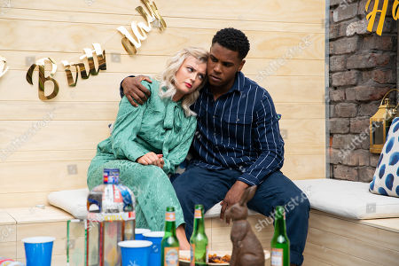 Stock Photo of Ep 9878 Wednesday 18th September 2019 - 2nd Ep James Bailey, as played by Nathan Graham, follows upset Bethany Platt, as played by Lucy Fallon, into the backyard and touched by his kindness, Bethany leans in for a kiss but is mortified when James resists. Bethany makes to leave so James blurts out that he's gay.