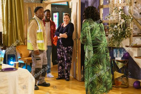 Ep 9879 Friday 20th September 2019 - 1st Ep Aggie Bailey, as played by Lorna Laidlaw, greets Ed Bailey, as played by Trevor Michael Georges, as he arrives at his surprise Birthday party.