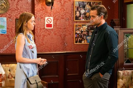 Ep 9876 Monday 16th September 2019 - 2nd Ep Toyah Battersby, as played by Georgia Taylor, tells Ali Neeson, as played by James Burrows, that whenever he's ready to talk about his problems, she's willing.