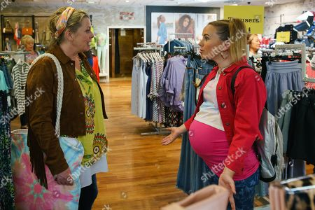 Stock Image of Ep 9873 Friday 13th September 2019 - 1st Ep When Bernie Winter, as played by Jane Hazlegrove, takes Gemma Winter, as played by Dolly-Rose Campbell, shopping for maternity clothes, Chesney wonders where she's found the money. His suspicions are confirmed when the uncovers the positive pregnancy test scam. Furious Gemma turns her anger on Bernie and tells her to go.