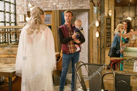 Ep 9869 Monday 9th September 2019 - 1st Ep Sinead Tinker, as played by Katie McGlynn, orders an unsuspecting Daniel Osbourne, as played by Rob Mallard, to meet her in the bistro for lunch. But in a bid to avoid Bethany, Daniel announces he's decided to take Bertie out for the day. Bethany tells him that for Sinead's sake, he has to turn up at the bistro. Arriving for lunch, he's taken aback to see Sinead waiting in her wedding dress. Daniel hugs Sinead, very much in love.
