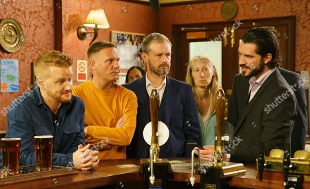 Ep 9884 Wednesday 25th September 2019 - 2nd Ep In the Rovers, Adam Barlow, as played by Sam Robertson, announces he has photos of Gary Windass, as played by Mikey North, attacking Ryan.