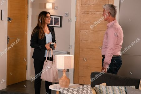 Ep 9891 Friday 4th October 2019 - 1st Ep Michelle Connor, as played by Kym Marsh, opens up to Robert Preston, as played by Tristan Gemmill, and tells him how Ray made a pass at her, she turned him down and now he's making her life hell.