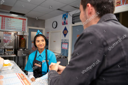 Ep 9888 Monday 30th September 2019 - 2nd Ep Asha Alahan, as played by Tanisha Gorey, starts work in the kebab shop. When Amy Barlow, as played by Elle Mulvaney, calls in with a lad from school called Corey, as played by Maximus Evans, who asks to meet her after rehearsals, Asha's smitten. Desperate to buy some more skin lightening cream, Asha steals Dev's bank card and orders some on the internet.