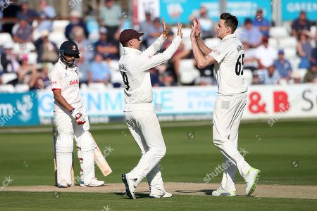 Stock Photo of Morne Morkel of Surrey celebrates taking the wicket of Ravi Bopara during Essex CCC vs Surrey CCC, Specsavers County Championship Division 1 Cricket at The Cloudfm County Ground on 17th September 2019