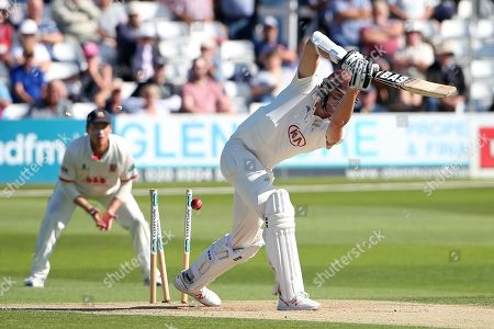 Morne Morkel of Surrey is bowled out by Jamie Porter during Essex CCC vs Surrey CCC, Specsavers County Championship Division 1 Cricket at The Cloudfm County Ground on 17th September 2019