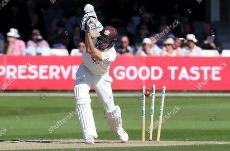 Morne Morkel of Surrey is bowled during Essex CCC vs Surrey CCC, Specsavers County Championship Division 1 Cricket at The Cloudfm County Ground on 17th September 2019
