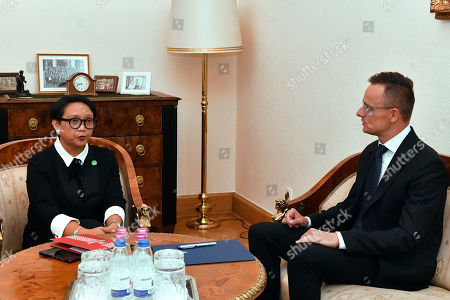Hungarian Minister of Foreign Affairs and Trade Peter Szijjarto (R) and Indonesian Foreign Minister Retno Marsudi during their meeting in the Ministry of Foreign Affairs and Trade in Budapest, Hungary, 17 September 2019.