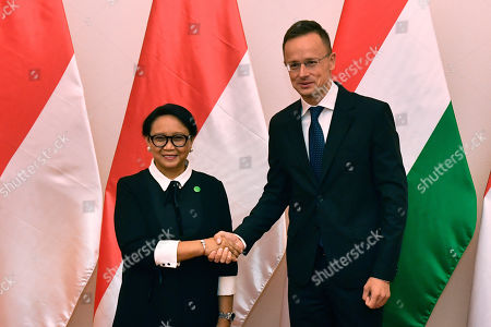 Hungarian Minister of Foreign Affairs and Trade Peter Szijjarto (R) receives Indonesian Foreign Minister Retno Marsudi in the Ministry of Foreign Affairs and Trade in Budapest, Hungary, 17 September 2019.