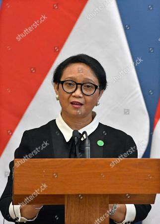 Stock Image of Indonesian Foreign Minister Retno Marsudi speaks during a joint press conference with her Hungarian counterpart at the Ministry of Foreign Affairs and Trade in Budapest, Hungary, 17 September 2019.