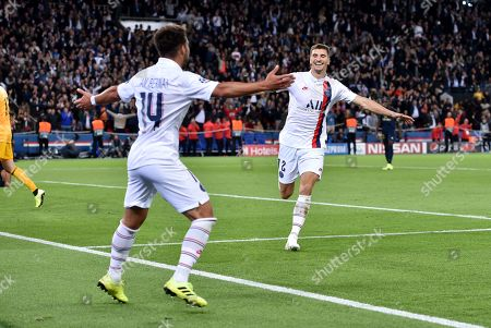 Thomas Meunier of Paris Saint-Germain scores the third goal 3-0 and celebrates