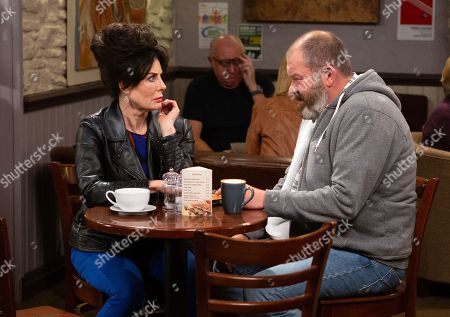 Stock Image of Ep 8600 Monday 23rd September 2019 Faith Dingle, as played by Sally Dexter, rejects Bear Wolf's, as played by Joshua Richards, advances and he reveals the truth about her kiss with Zak and Belle overhears.