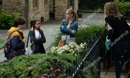 Stock Picture of Ep 8594 Monday 16th September 2019 Trying to show off in front of new friend Danny, as played by Louis Healy, Sarah Sugden, as played by Katie Hill, gets herself in trouble when Vanessa Woodfield, as played by Michelle Hardwick, catches them hanging out together instead of doing school work. Soon enough, Sarah's mortified when Charity Dingle, as played by Emma Atkins, tells her off in front of him.