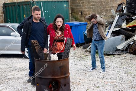 Ep 8597 Thursday 19th September 2019 - 1st Ep  Aaron Dingle, as played by Danny Miller, rebukes Mandy Dingle, as played by Lisa Riley, for sponging off the family. When he reveals he's taken a cut as commission, Mandy kicks off and the argument eventually leads to him 'accidentally' dropping all of the money in a nearby burning barrel. But is all as it seems?
