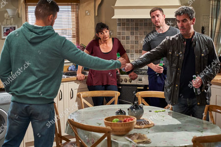 Ep 8606 Monday 30th September 2019  Moira Dingle, as played by Natalie J Robb, is alarmed to see Nate, as played by Jurell Carter, and Cain Dingle, as played by Jeff Hordley, getting on well. With Moira Dingle, as played by Natalie J Robb ; Pete Barton, as played by Anthony Quinlan.