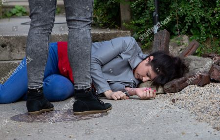 Ep 8610 Thursday 3rd October 2019 - 2nd Ep  Determined to fight for their secret, Amy and Kerry Wyatt, as played by Laura Norton, lock Tracy Metcalfe, as played by Amy Walsh, in to stop her from going to the police. But Tracy seizes a moment to make a run for it with Kerry in hot pursuit. But Kerry falls hitting her head hard.