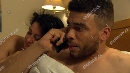 Ep 8609 Thursday 3rd October 2019 - 2nd Ep  At the hotel, as they lie beside one another, Nate, as played by Jurell Carter, gets a pointed call from Pete Barton - he knows about the affair with Moira Dingle, as played by Natalie J Robb, but will Pete tell Cain?