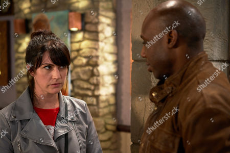 Ep 8609 Wednesday 2nd October 2019  Soon Kerry Wyatt, as played by Laura Norton, squirms as she meets with a journalist, as played by Chris Jack, and wracked with guilt as she's interviewed.