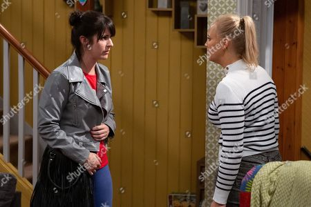 Ep 8610 Thursday 3rd October 2019 - 2nd Ep  Tracy Metcalfe, as played by Amy Walsh, looks for her Dad's keyring in Kerry Wyatt's, as played by Laura Norton, bedroom but whilst searching finds passports and one-way tickets and wonders why. Soon a confrontational Tracy demands to know what is going on and is left reeling when Kerry is forced to admit she was responsible for Frank's death. Kerry lies she alone was responsible for the robbery and fire in order to protect Amy.