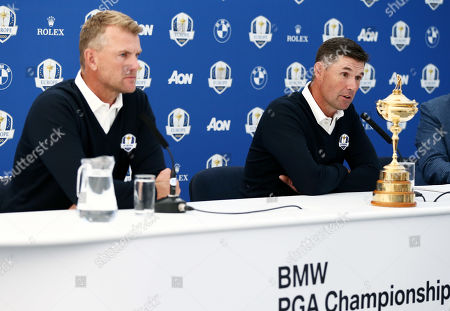Ryder Cup Captain Padriag Harrington of Ireland during a press conference after announcing Robert Karlsson of Sweden as his first vice captain.