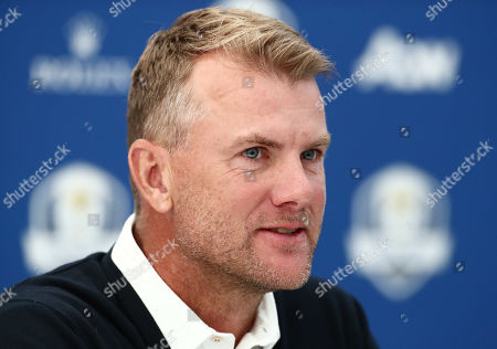 Robert Karlsson speaks during a press conference after being announced as a vice captain for the next Ryder Cup.