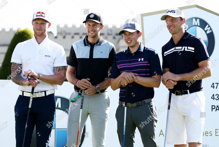 England cricketers Ben Stokes, Joe Root and Jos Buttler are seen with Matt Fitzpatrick of England during the Pro Am.