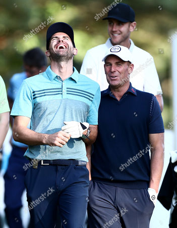 Stock Image of England Cricketer James Anderson shares a joke with Ex cricketer Shane Warne.